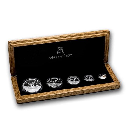 2021 Mexico 5-Coin Silver Libertad Proof Set (1.9 oz, Wood Box)