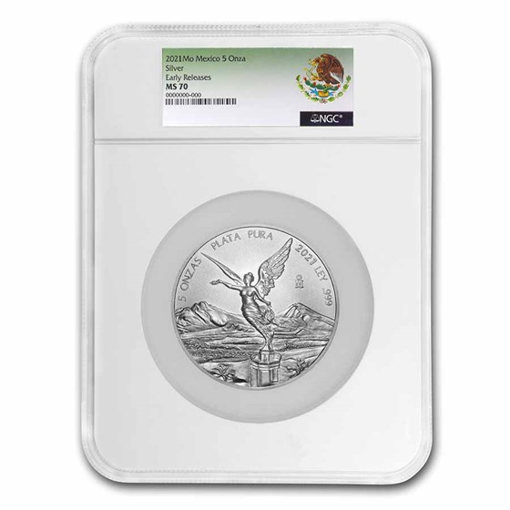 2021 Mexico 5 oz Silver Libertad MS-70 NGC (Early Release)