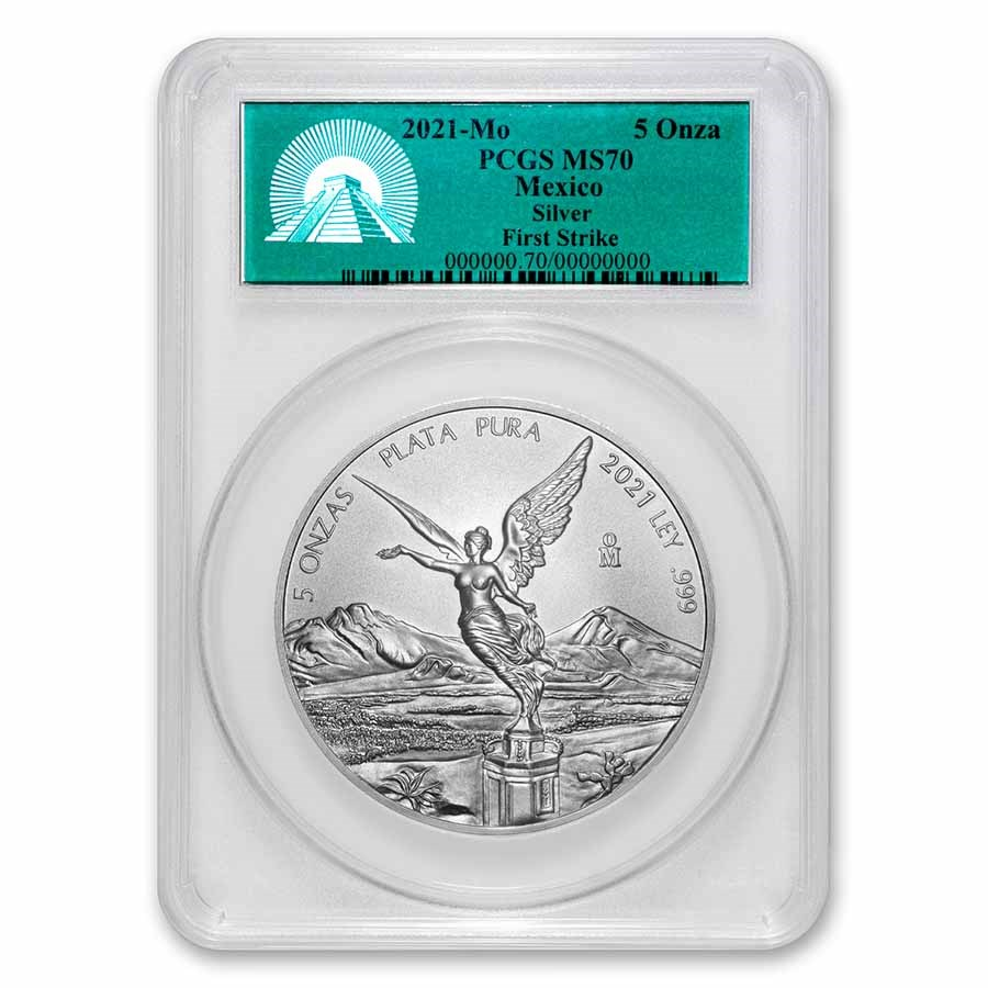 2021 Mexico 5 oz Silver Libertad MS-70 PCGS (FirstStrike®)