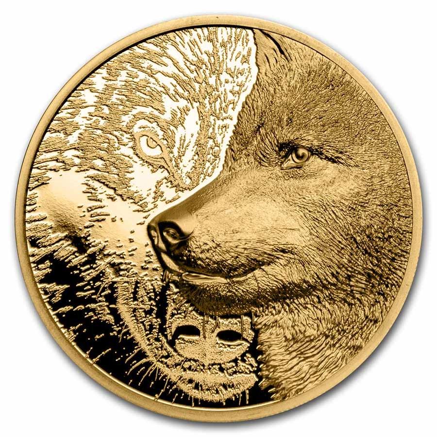 2021 Mongolia 1/10 oz Gold Proof Mystic Wolf