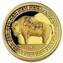 2021 Mongolia 1/2 gram Proof Gold Lunar Year of the Ox