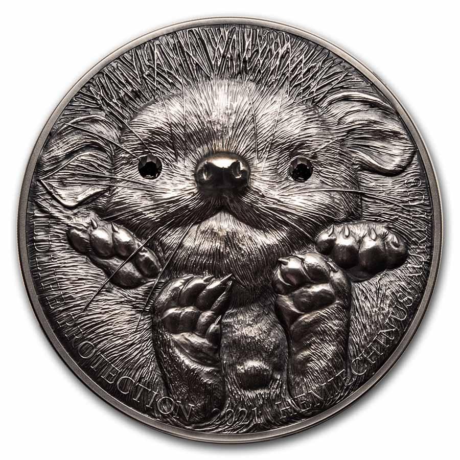2021 Mongolia 1 kilo Silver Wildlife Protection (Hedgehog)