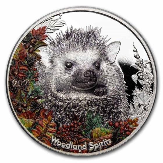 2021 Mongolia 1 oz Silver Woodland Spirits (Hedgehog)