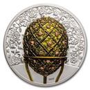 2021 Mongolia 2 oz Silver Peter Carl Fabergé Egg: Rose Trellis