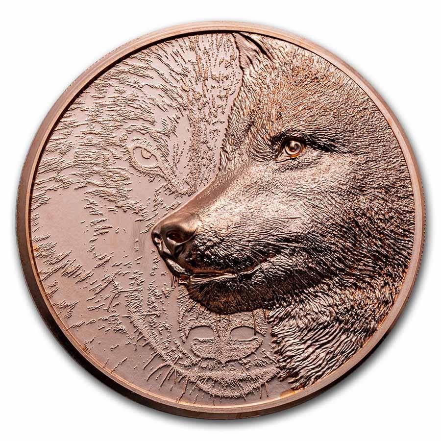 2021 Mongolia 50 gram Copper Proof Mystic Wolf