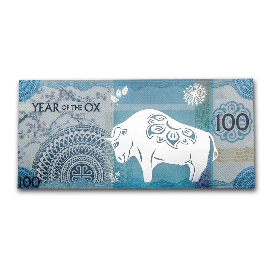 2021 Mongolia Lunar Year of the Ox Silver Note