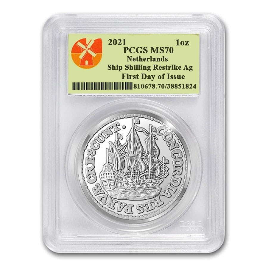 2021 Netherlands 1 oz Silver Ship Shilling MS-70 PCGS (FDI)