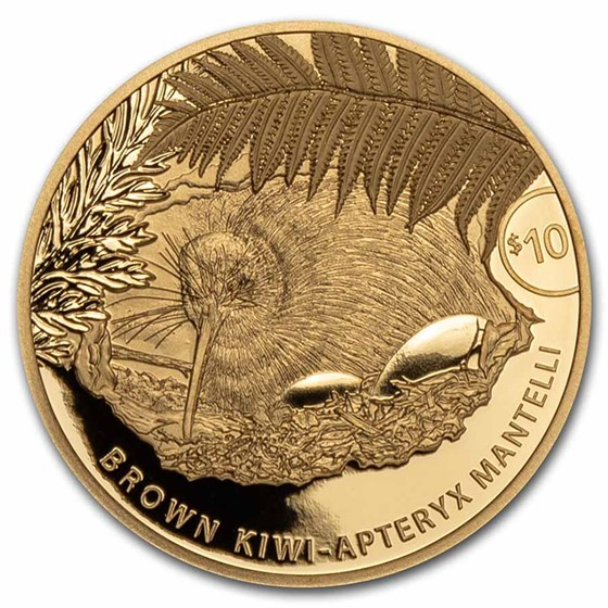 2021 New Zealand 1/4 oz Proof Gold $10 Kiwi