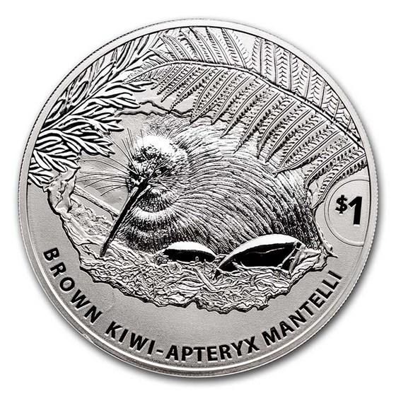 2021 New Zealand 1 oz Silver Brown Kiwi Specimen