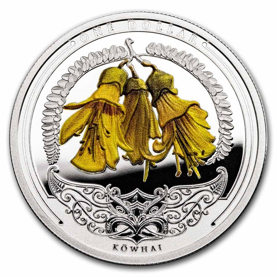 2021 New Zealand 1 oz Silver Discover New Zealand: Kowhai Proof