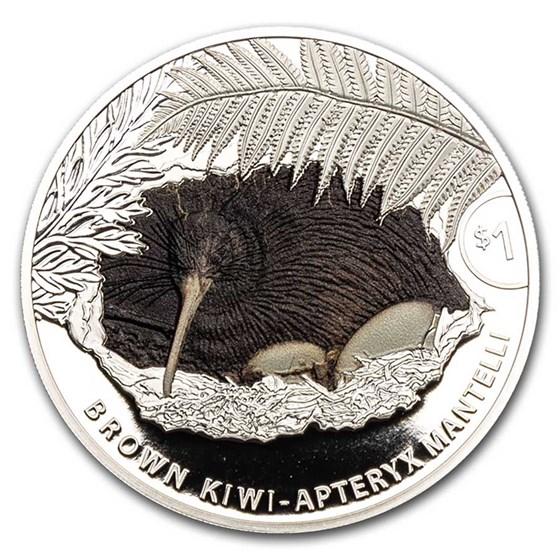 2021 New Zealand 1 oz Silver Kiwi Proof Colorized (w/Box & COA)
