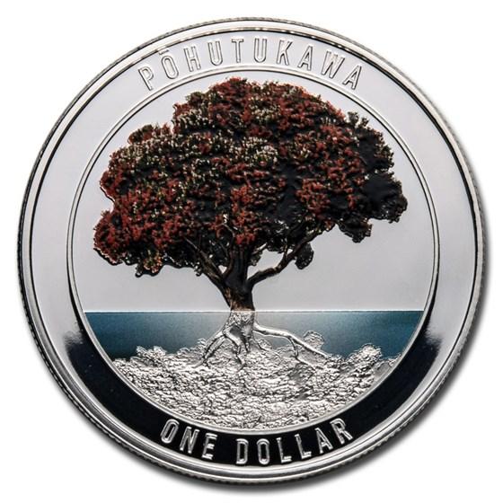 2021 New Zealand 1 oz Silver Pohutukawa Proof w/Color (Box & COA)