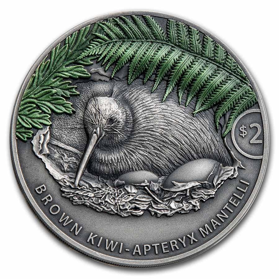 2021 New Zealand 2 oz Silver Antique Kiwi Color (w/Box & COA)