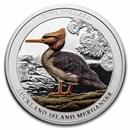 2021 New Zealand 2 oz Silver Auckland Island Merganser