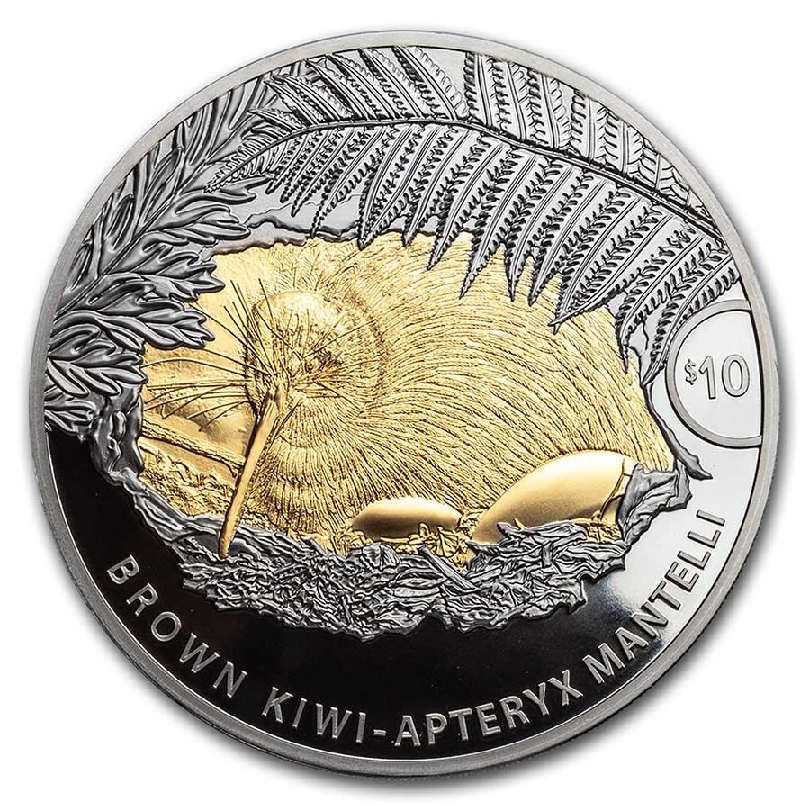 2021 New Zealand 5 oz Silver Brown Kiwi Proof w/Gold Gilding