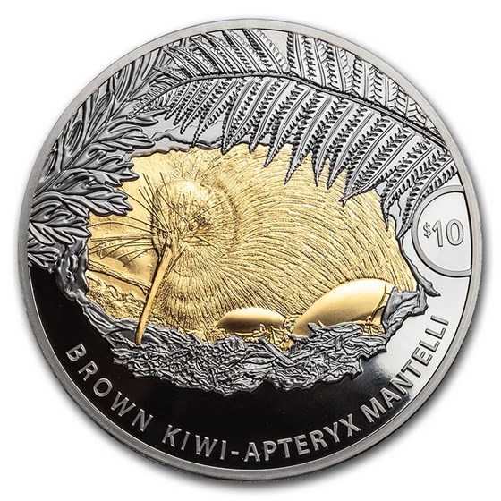 2021 New Zealand 5 oz Silver Brown Kiwi Proof with Gold Gilding