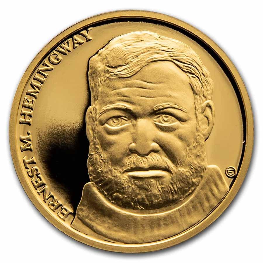 2021 Niue 1/2 oz Gold Proof Famous Artist: Ernest Hemingway