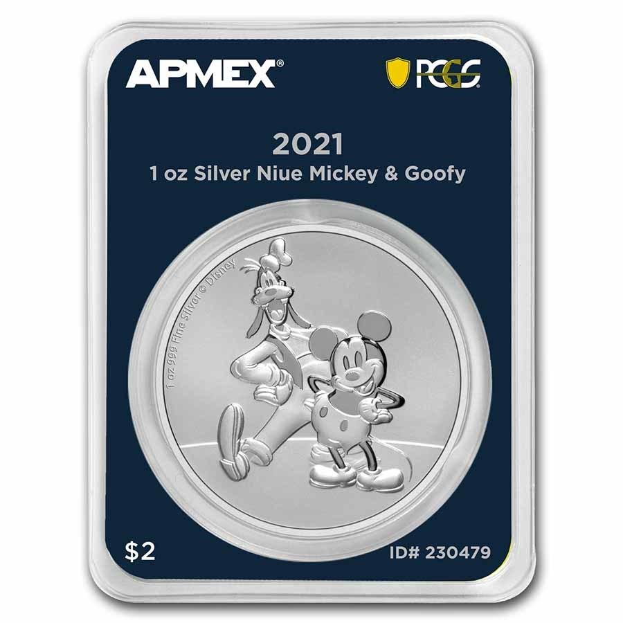 2021 Niue 1 oz Ag $2 Mickey & Goofy (MD® Premier + PCGS FS)