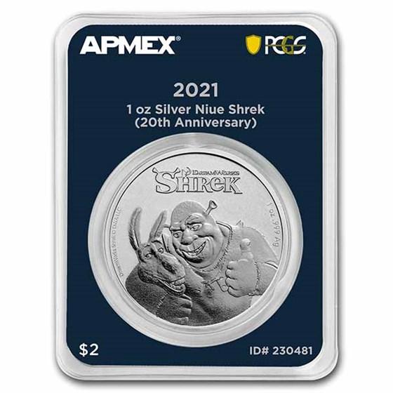 2021 Niue 1 oz Ag $2 Shrek 20th Anniv. (MD® Premier + PCGS FS)