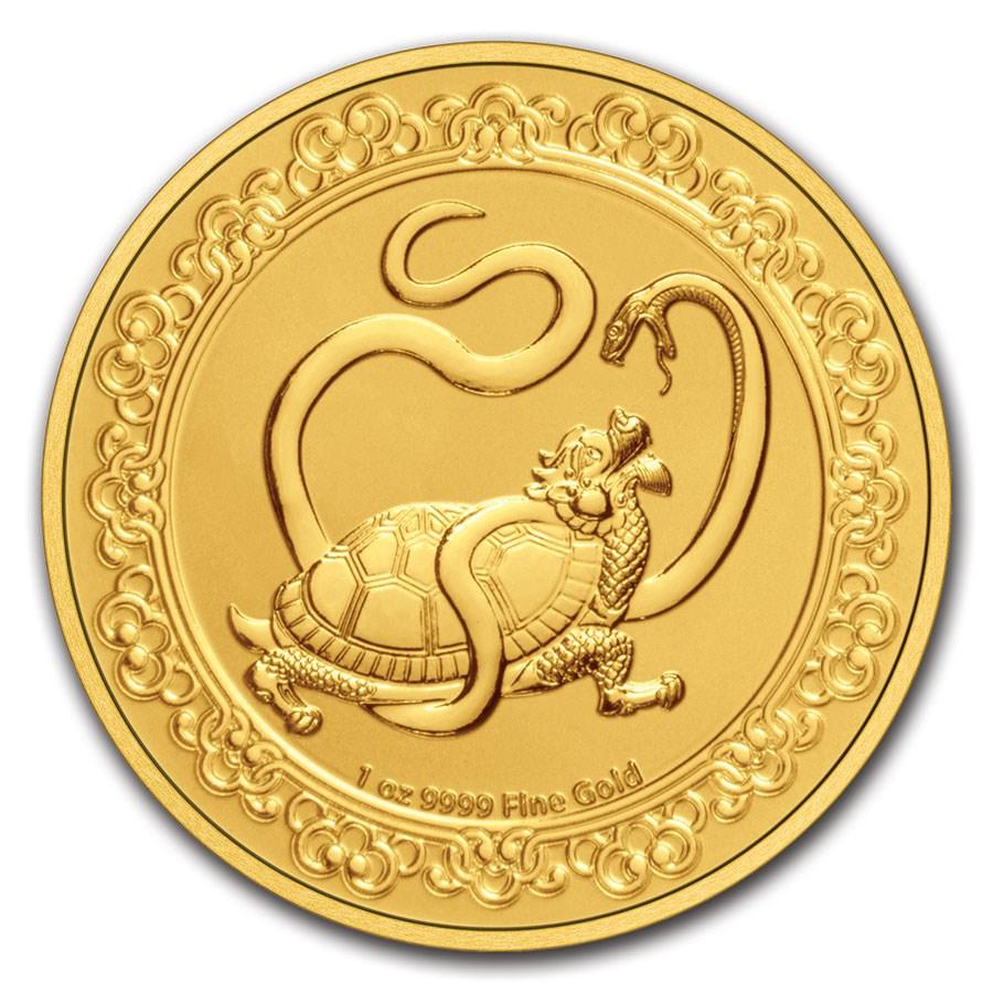 2021 Niue 1 oz Gold $250 Celestial Animals Turtle (w/Box & COA)