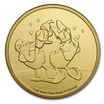 2021 Niue 1 oz Gold $250 Disney Donald & Daisy Duck BU