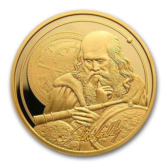2021 Niue 1 oz Gold $250 Icons of Inspiration: Galileo BU