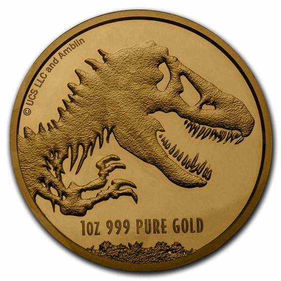 2021 Niue 1 oz Gold $250 Jurassic World Coin BU