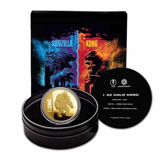 2021 Niue 1 oz Gold $250 Kong BU (w/Gift Tin & COA)