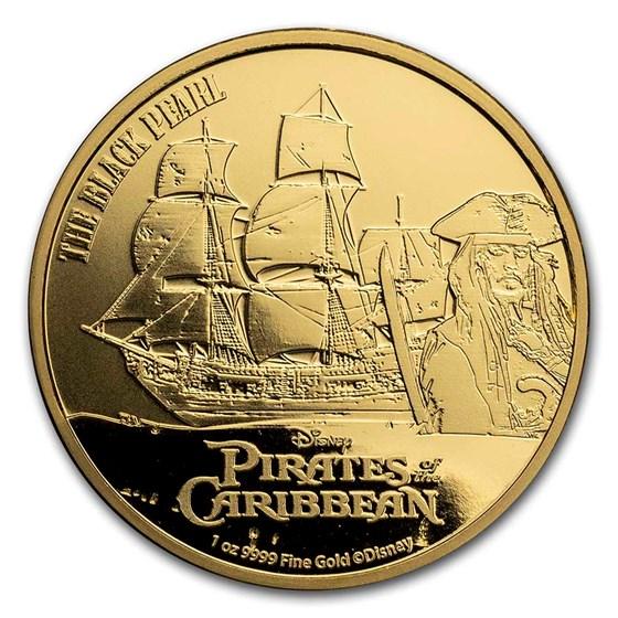 2021 Niue 1 oz Gold $250 Pirates of the Caribbean: Black Pearl BU