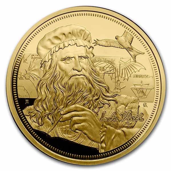 2021 Niue 1 oz Gold Icons of Inspiration: da Vinci BU