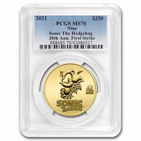2021 Niue 1 oz Gold Sonic the Hedgehog 30th Anniv. MS-70 PCGS FS