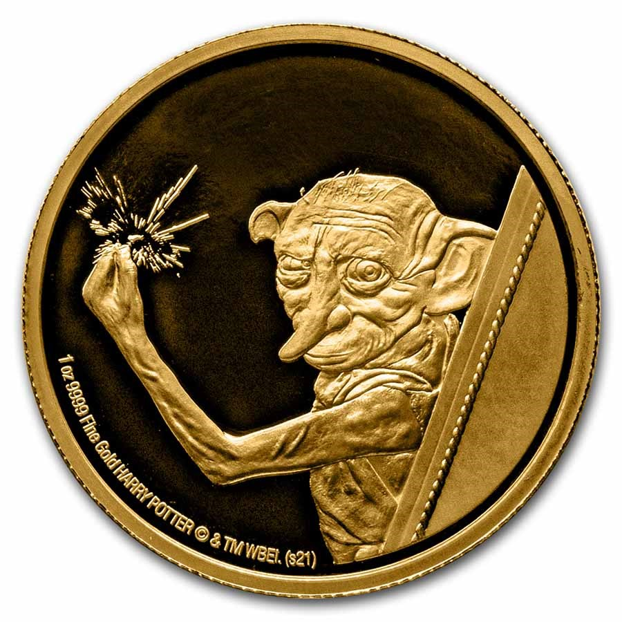 2021 Niue 1 oz Proof Gold Coin: Dobby the House Elf