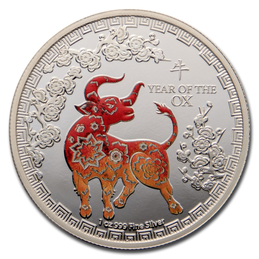 2021 Niue 1 oz Silver $2 Colorized Lunar Year of the Ox