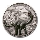 2021 Niue 1 oz Silver $2 Dinosaurs: Brontosaurus