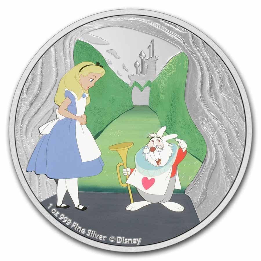 2021 Niue 1 oz Silver $2 Disney Alice in Wonderland White Rabbit
