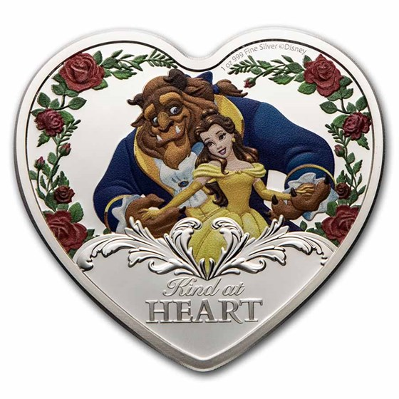 2021 Niue 1 oz Silver $2 Disney Beauty and the Beast 30th
