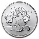 2021 Niue 1 oz Silver $2 Disney Donald & Daisy Duck BU