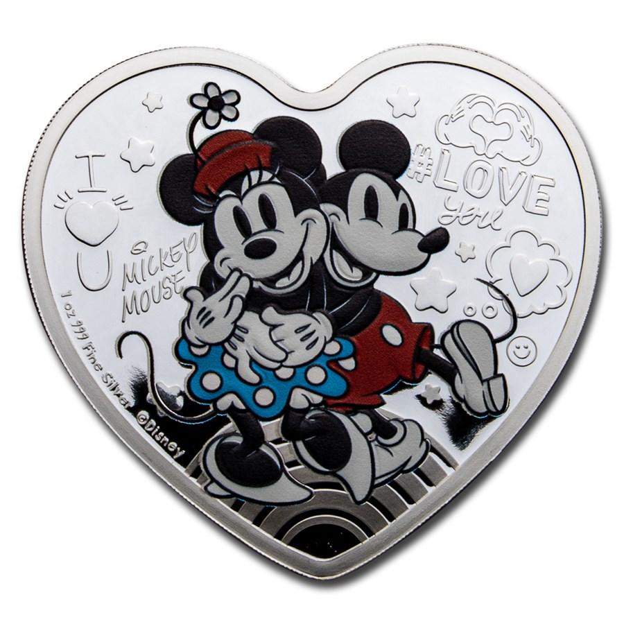 2021 Niue 1 oz Silver $2 Disney Heart-Shaped Love Mickey & Minnie