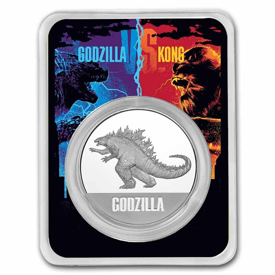 2021 Niue 1 oz Silver $2 Godzilla Coin BU in TEP