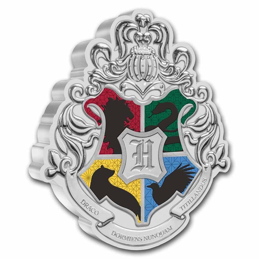 2021 Niue 1 oz Silver $2 Harry Potter Hogwarts Crest Shaped Coin
