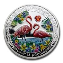 2021 Niue 1 oz Silver $2 Love is Precious Flamingos Proof