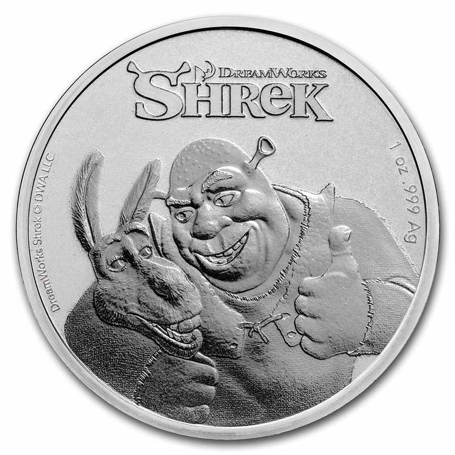 2021 Niue 1 oz Silver $2 Shrek 20th Anniversary BU Coin
