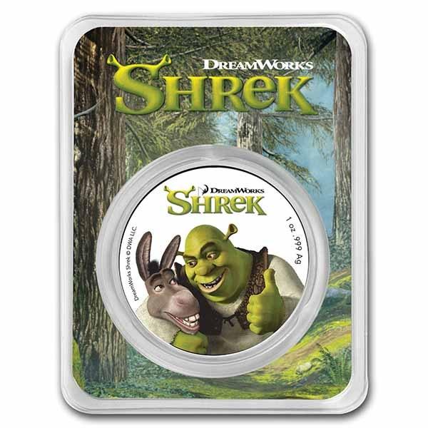 2021 Niue 1 oz Silver $2 Shrek 20th Anniversary BU (Colorized)