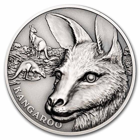 2021 Niue 1 oz Silver Antique Wildlife Up Close: Kangaroo
