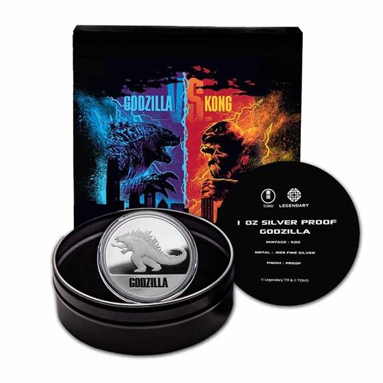 2021 Niue 1 oz Silver Proof $2 Godzilla (w/Gift Tin & COA)