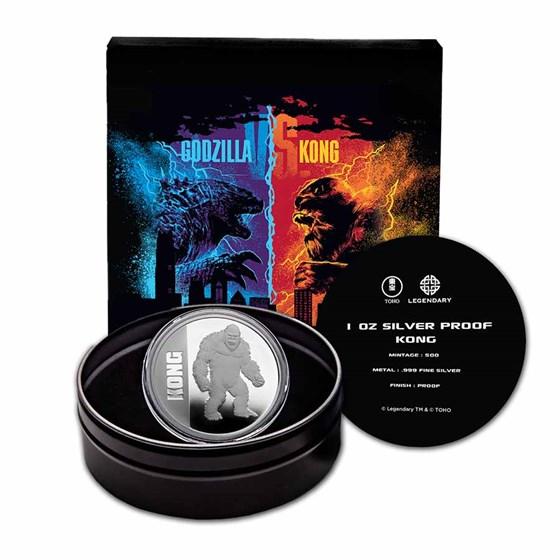 2021 Niue 1 oz Silver Proof $2 Kong (w/Gift Tin & COA)