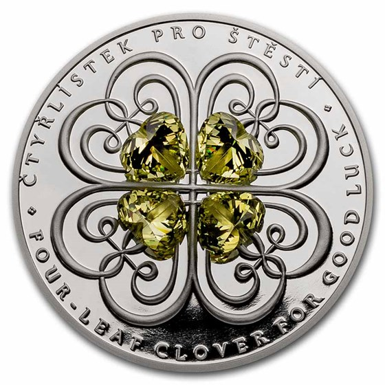2021 Niue 1 oz Silver Proof Crystal Coin: Four-Leaf Clover