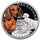 2021 Niue 1 oz Silver Proof Dog Breeds: Dachshund