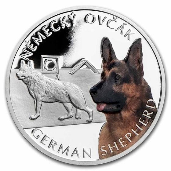 2021 Niue 1 oz Silver Proof Dog Breeds: German Shepherd
