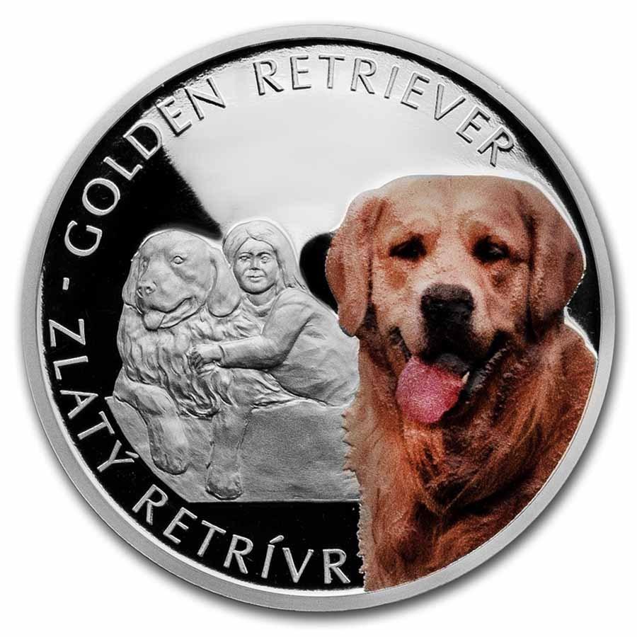 2021 Niue 1 oz Silver Proof Dog Breeds: Golden Retriever